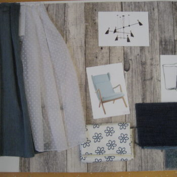 Materialkollage blau